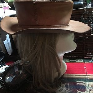 Vintage leather pork pie hat